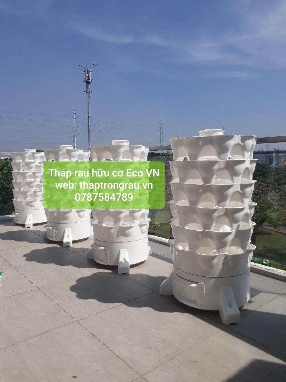 Combo 4 tháp trồng rau hữu cơ thông minh
